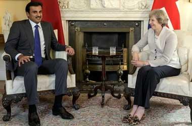 Sheikh Abdullah bin Nasser bin Khalifa al-Thani and Theresa May